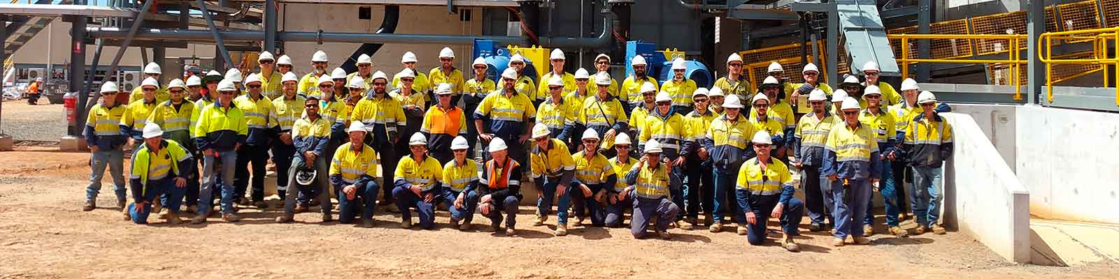 GR Engineering staff members at the Nova Nickel mine site in Fraser Range, Western Australia.