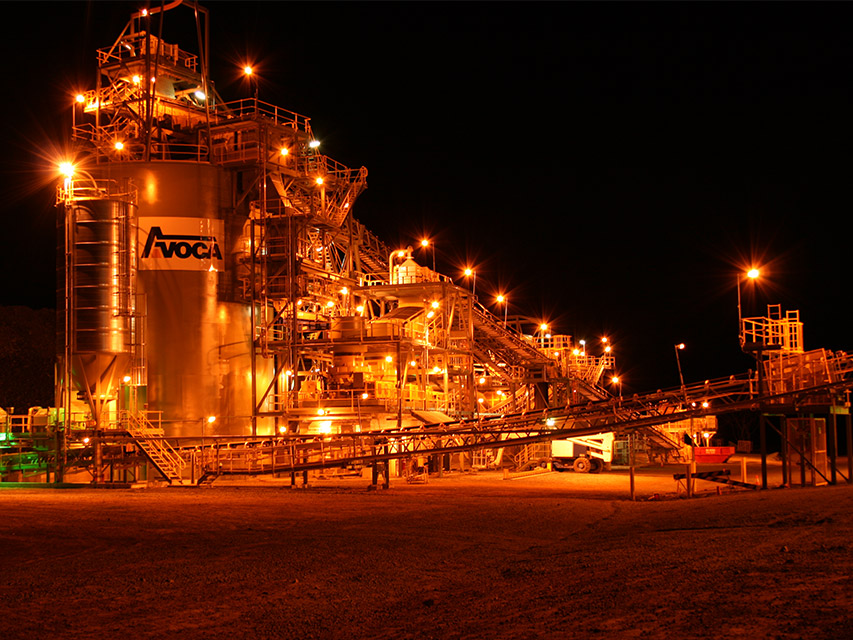 Avoca Higginsville Gold Project at night