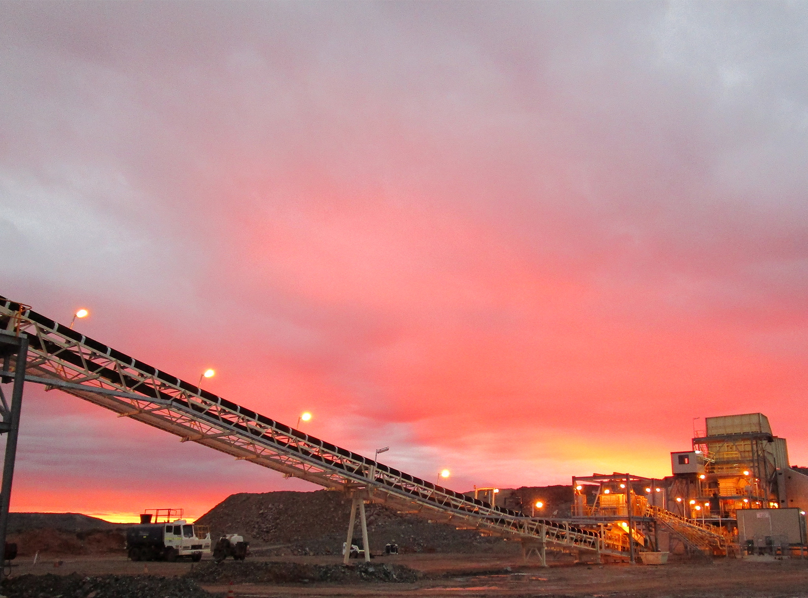 Pink sunrise at Mt Morgans Gold Project Western Australia
